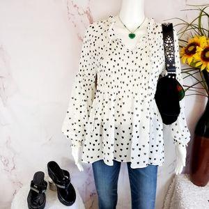 ASOS Rose+Olive pretty heart print smocked blouse